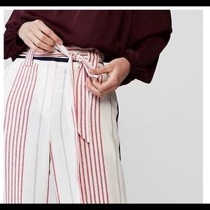 Express TALL high-waisted striped sash-tie pants